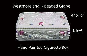 Westmoreland Glass ~ Beaded Grape HP Cigarette Box