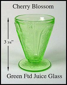 Jeannette ~ Green Cherry Blossom 4 oz Ftd Juice Glass