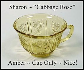 Federal Glass Amber Sharon Cabbage Rose Coffee Cup