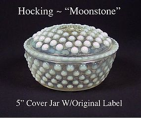 Hocking Moonstone Covered Puff Jar & Lid W/Orig Label