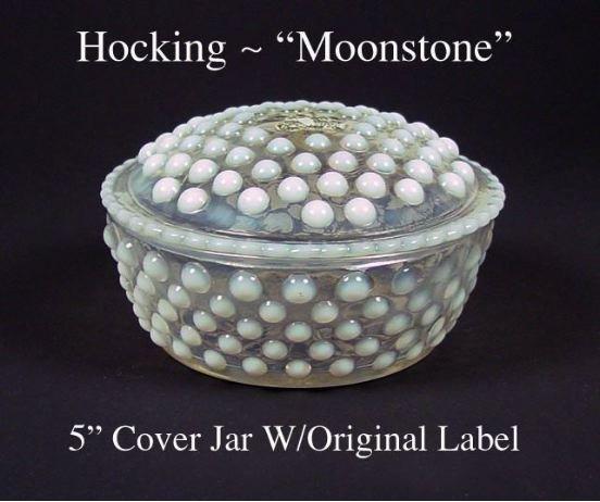 Hocking Moonstone Covered Puff Jar & Lid W/Orig Label