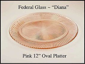 Federal Glass Pink Diana 12 inch Oval Platter
