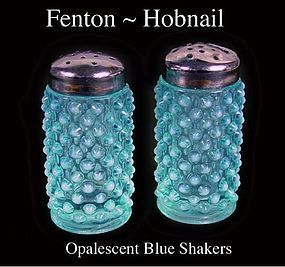 Fenton Blue Opalescent Hobnail~Pair of Salt and Pepper