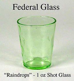 Federal Glass - 1930s Green Raindrops 1 oz Shot Glass