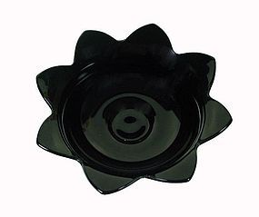 Fenton Ebony Black 9 inch Footed Console Bowl w/Petals