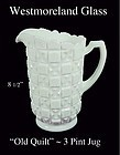 "Westmoreland Glass Co. - ""Old Quilt"" - 3 Pint Pitcher"