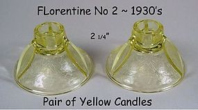 Florentine Poppy No 2 Pair of Yellow Candles