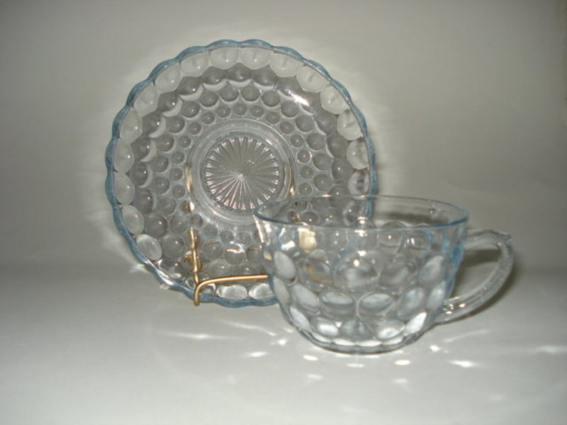 Hocking 1940s Blue Bubble Bullseye Cup and Saucer