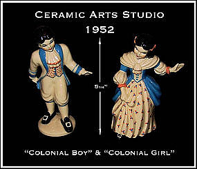 Ceramic Arts Studio 1952 Colonial Boy & Girl Figurines