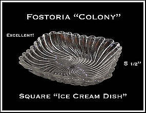 Fostoria Colony Square Ice cream Dish