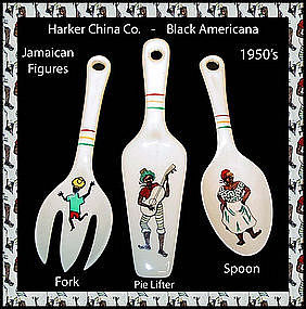 Harker China Rare 3pc Black Americana Jamaican Theme