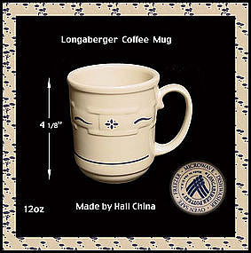 Longaberger Hall China Blue 12oz Coffee Mug