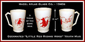 Hazel Atlas Glass Little Red Riding Hood Handled Mug