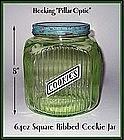 Hocking Pillar Optic 64oz Green Ribbed COOKIE Jar