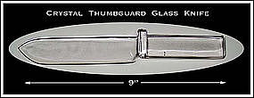Unusual Crystal Glass Fruit/Cake Knife With Thumbguard