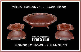 AH Old Colony Lace Edge Pink Frosted 3pc Console Set