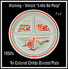 Hocking Vitrock Little Bo Peep Tri Color Divided Plate