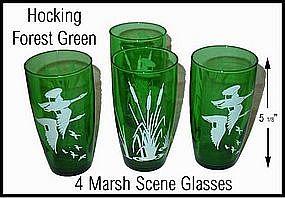 Hocking Forest Green Marsh Scene Ice Tea Tumblers