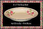 Hall China Pink Mums Flat Soup Bowl 1950's