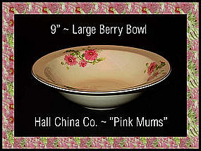 Hall China Pink Mums Large 9 inch Berry Bowl 1950's