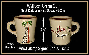 Wallace China RW Thick Figural Christmas Souvenir Mug