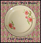 Hall China Pink Mums 7 inch Salad Plate