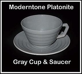 Moderntone Platonite Gray Cup and Saucer