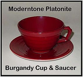 Moderntone Platonite Burgandy Cup and Saucer
