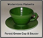 Moderntone Platonite Dark Green Cup and Saucer