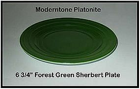 "Moderntone Platonite Forest Green 6 3/4"" Sherbert Plate"