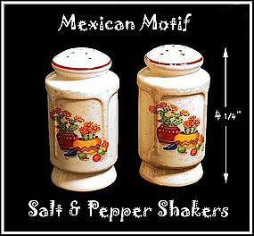 Mexican Motif China Footed Range Shakers