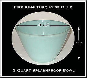 Fire King Turquoise Blue 3 Quart Splashproof Bowl