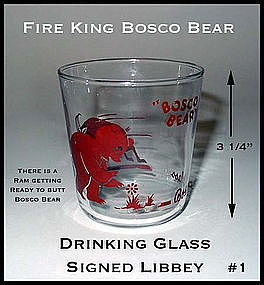 Fire King Bosco Bear Signed Libbey Drinking Glass #1