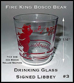Fire King Bosco Bear Signed Libbey Drinking Glass #3