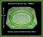 Jeannette Glass Green Adam Square Coaster Ash Tray