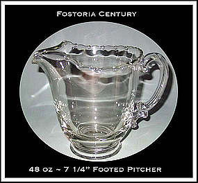 Fostoria Century 48oz Footed Water Pitcher 1950s