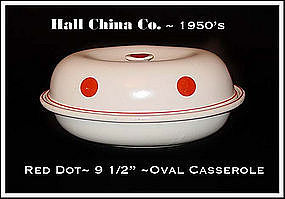 Hall China Red Dot Oval Casserole 1950s