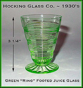 Hocking Glass Green Ring HTF Footed Juice Glass