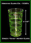 Green Ring Tall Flat Water Tumbler by Hocking Glass
