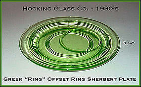 Hocking ~ Green Ring Underplate For Sherbert W/Ring