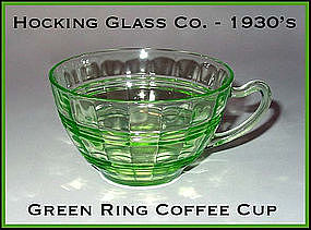 Hocking ~ Green Ring Coffee or Tea Cup