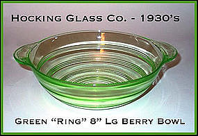 Hocking Glass Green Ring Large 2 Handled Berry Bowl