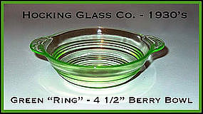 Hocking Glass Green Ring Small 2 Handled Berry Bowl