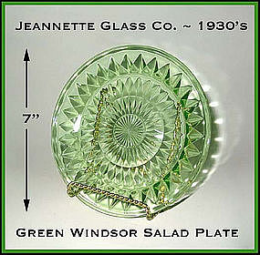 Jeannette Glass Green Windsor 7 inch Salad Plate