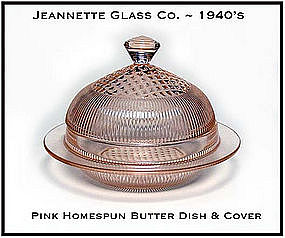 Jeannette Glass Pink Homespun Butter Dish and Cover