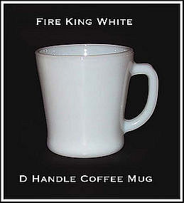 Hocking Fire King White D-Handle 8 oz Mug