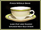 Pyrex Gold Trim W/Lime Color Band Cup and Saucer Unused