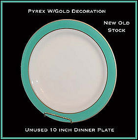 "Pyrex Corning Gold Dec Turquoise Band 10"" Dinner Plate"