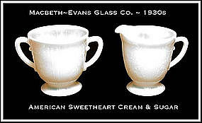 American Sweetheart Monax Creamer and Sugar Bowl