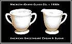 American Sweetheart Monax Creamer and Sugar Bowl